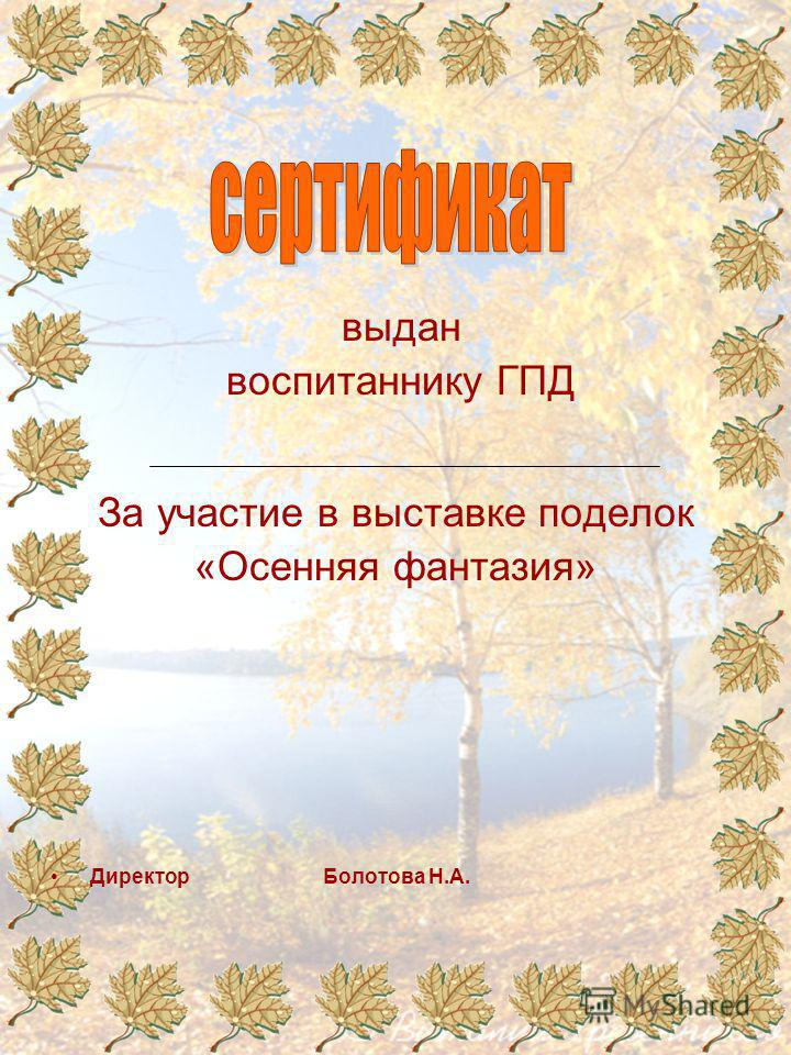 выдан воспитаннику ГПД За участие в выставке поделок «Осенняя фантазия» Директор Болотова Н.А.