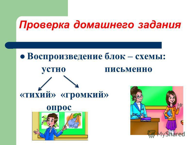 Проверка домашнего задания Воспроизведение блок – схемы: устно письменно «тихий» «громкий» опрос