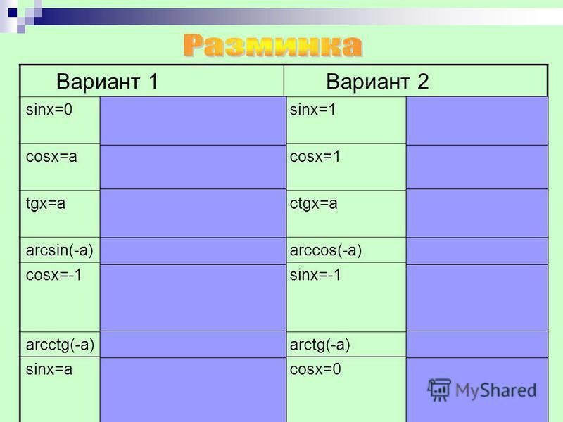 Вариант 1 Вариант 2 sinx=0x=Пn,nєZsinx=1x=П/2+2Пn,nєZ cosx=ax= ± arccosa+2Пn,nєZcosx=1x=2Пn,nєZ tgx=ax=arctga+Пn, nєZctgx=ax=arcctga+Пn, nєZ arcsin(-a)=-arcsinaarccos(-a)=П-arccosa cosx=-1x=П+2Пn,nєZsinx=-1x=-П/2+2Пn,nєZ arcctg(-a)=П-arcctgaarctg(-a)