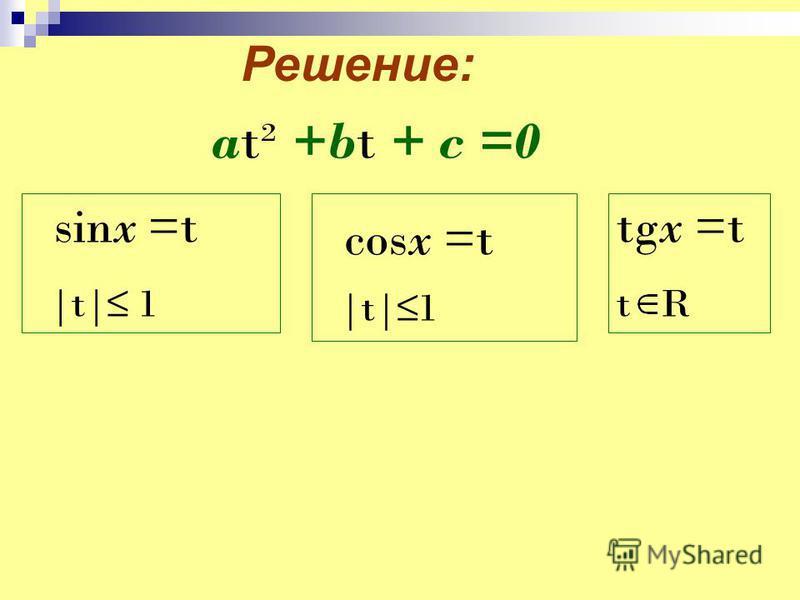 Решение: sinx =t |t| 1 at² +bt + c =0 cosx =t |t|1 tgx =t t R