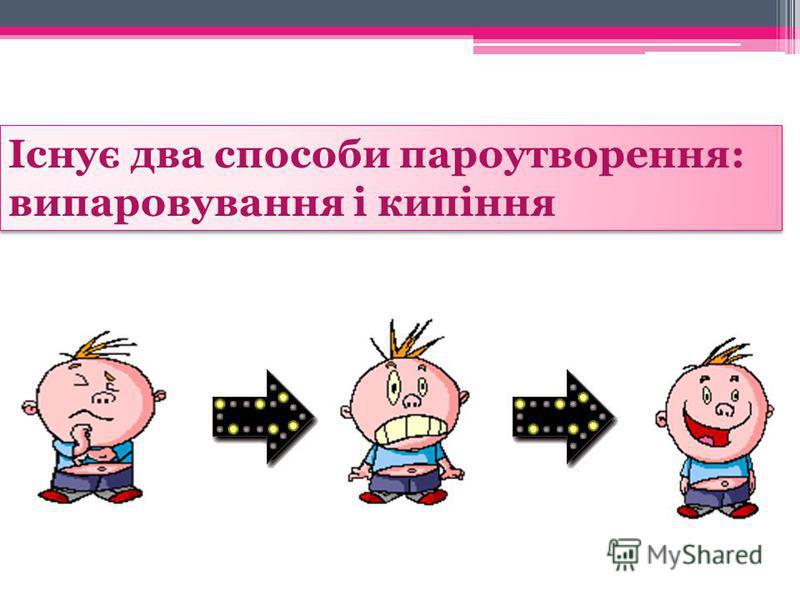 Існує два способи пароутворення: випаровування і кипіння Існує два способи пароутворення: випаровування і кипіння