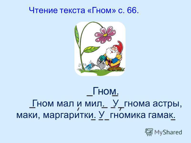 Чтение текста «Гном» с. 66. Гном. Гном мал и мил. У гнома астры, маки, маргаритки. У гномика гамак.
