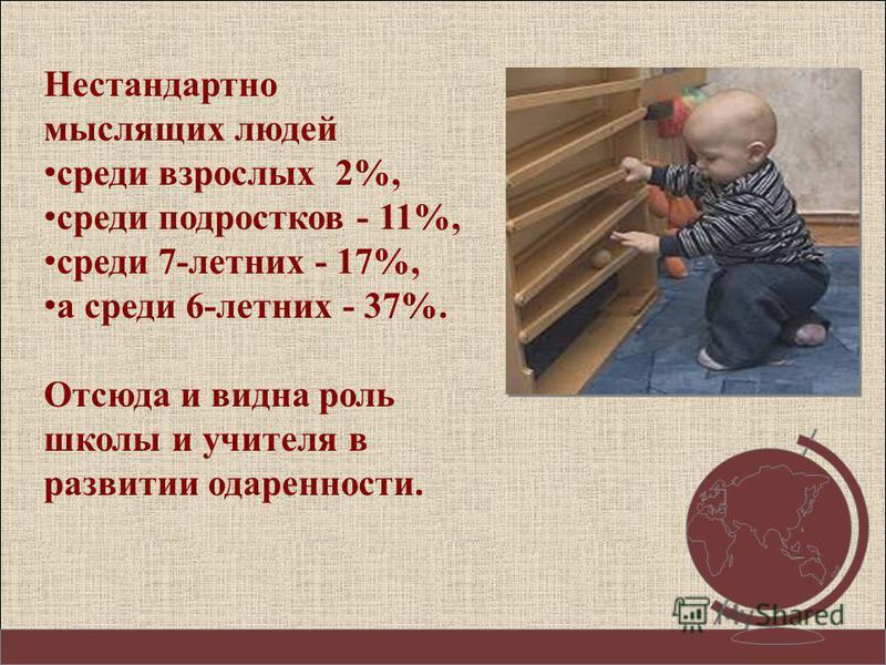 Нестандартно мыслящих людей среди взрослых 2%, среди подростков - 11%, среди 7-летних - 17%, а среди 6-летних - 37%. Отсюда и видна роль школы и учителя в развитии одаренности.