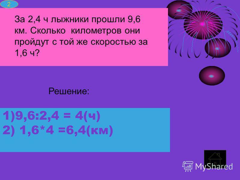 1)9,6:2,4 = 4(ч)9,6:2,4 = 4(ч) 2) 1,6*4 =6,4(км) 1,6*4 =6,4(км) За 2,4 ч лыжники прошли 9,6 км. Сколько километров они пройдут с той же скоростью за 1,6 ч? Решение: 2