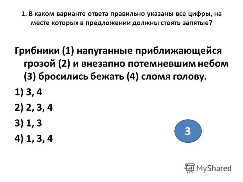 1. В каком варианте ответа правильно указаны все цифры, на месте которых в предложении должны стоять запятые? Грибники (1) напуганные приближающейся грозой (2) и внезапно потемневшим небом (3) бросились бежать (4) сломя голову. 1) 3, 4 2) 2, 3, 4 3)