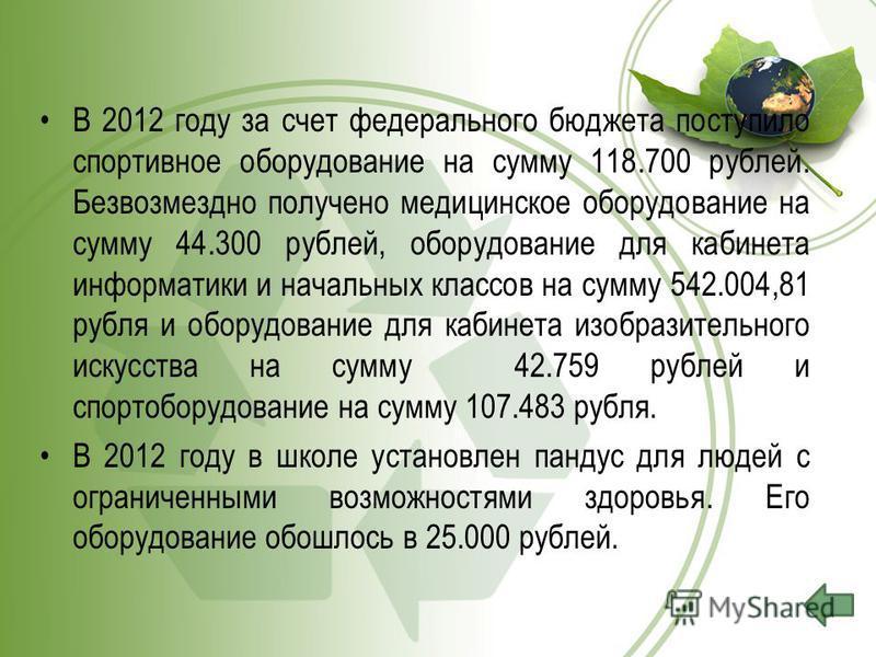 В 2012 году за счет федерального бюджета поступило спортивное оборудование на сумму 118.700 рублей. Безвозмездно получено медицинское оборудование на сумму 44.300 рублей, оборудование для кабинета информатики и начальных классов на сумму 542.004,81 р