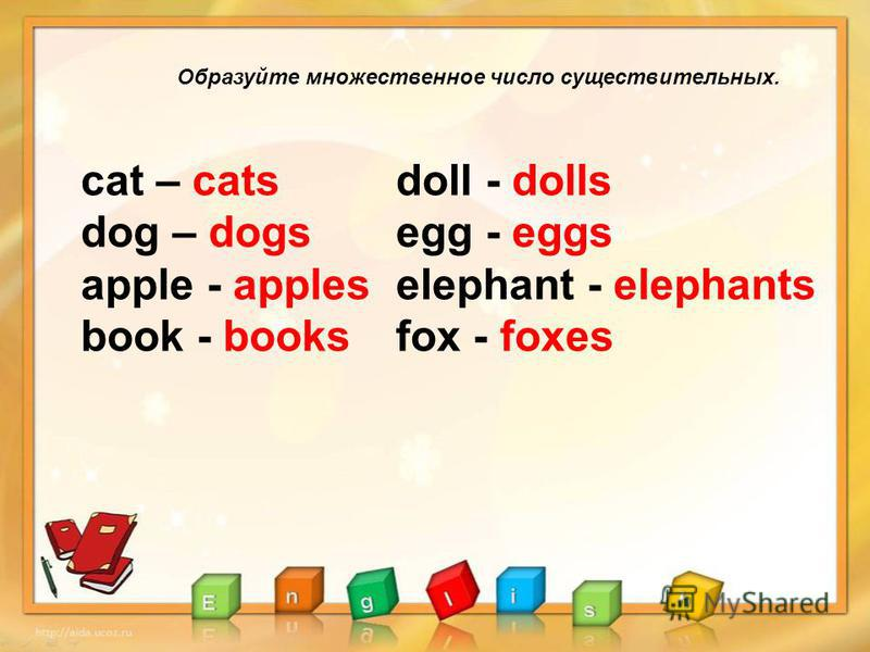 Образуйте множественное число существительных. сat – cats dog – dogs apple - apples book - books doll - dolls egg - eggs elephant - elephants fox - foxes