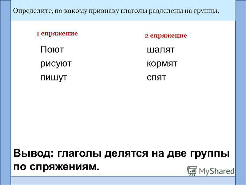 Определите, по какому признаку глаголы разделены на группы. Вывод: глаголы делятся на две группы по спряжениям. Поют рисуют пишут шалят кормят спят 2 спряжение 1 спряжение