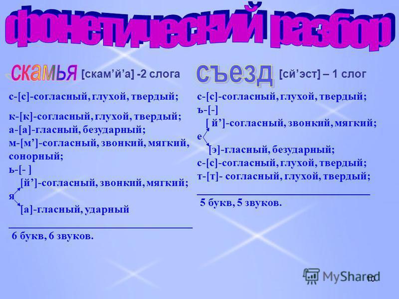 10 [cкамйа] -2 слога с-[с]-согласный, глухой, твердый; к-[к]-согласный, глухой, твердый; а-[а]-гласный, безударный; м-[м]-согласный, звонкий, мягкий, сонорный; ь-[- ] [й]-согласный, звонкий, мягкий; я [а]-гласный, ударный ____________________________