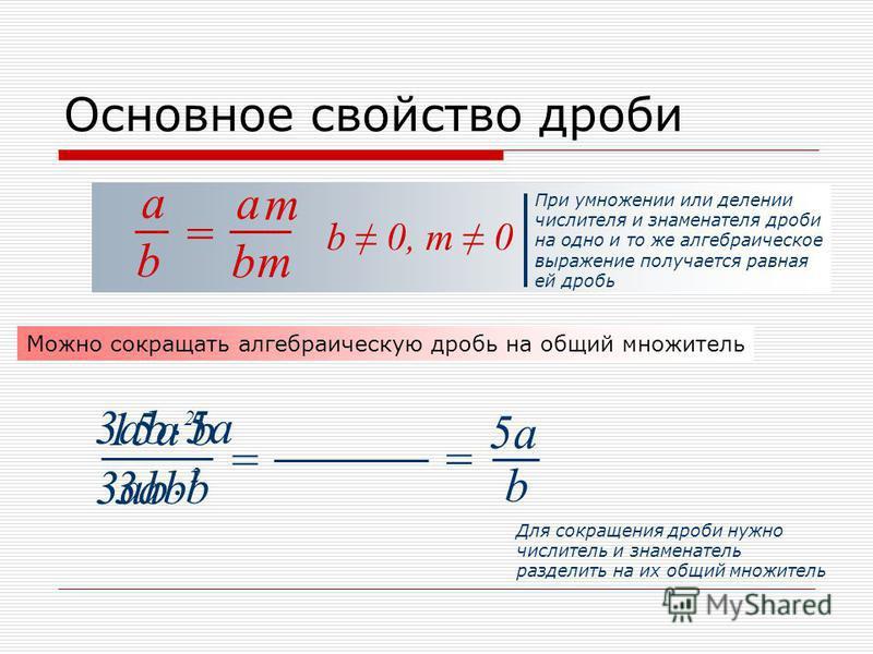 b a Основное свойство дроби = b a b 0, m 0 При умножении или делении числителя и знаменателя дроби на одно и то же алгебраическое выражение получается равная ей дробь m m Можно сокращать алгебраическую дробь на общий множитель 3ab 15a b b 5a 2 2 = 3a