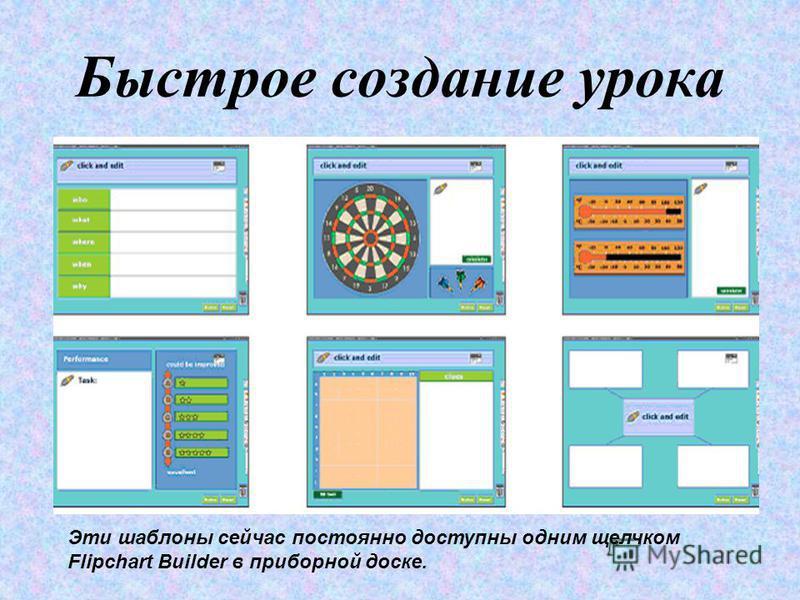 Быстрое создание урока Эти шаблоны сейчас постоянно доступны одним щелчком Flipchart Builder в приборной доске.