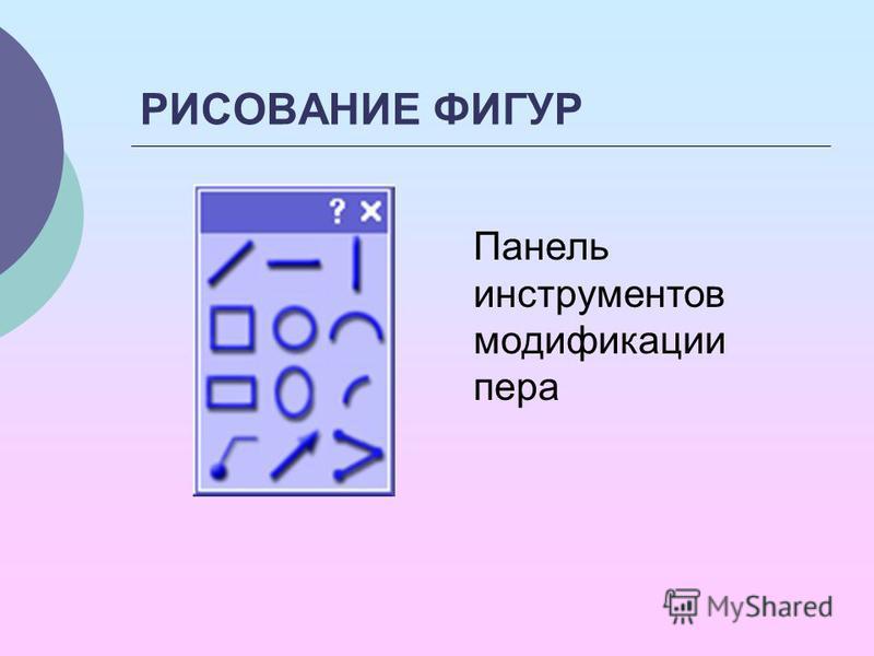 РИСОВАНИЕ ФИГУР Панель инструментов модификации пера