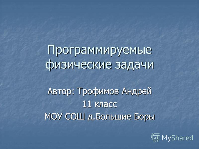 Программируемые физические задачи Автор: Трофимов Андрей 11 класс МОУ СОШ д.Большие Боры