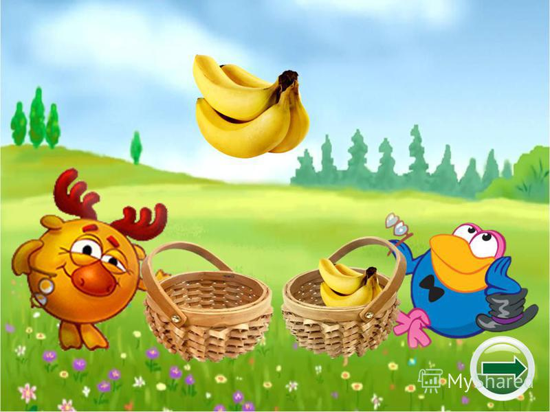 Помоги Лосяшу и Кар- карычу собрать фрукты и овощи. Кар-карыч собирает фрукты, а Лосяш – овощи.