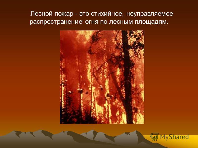 Лесной пожар - это стихийное, неуправляемое распространение огня по лесным площадям.