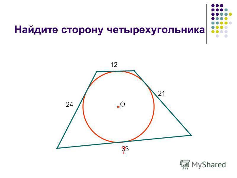 Найдите сторону четырехугольника 12 21 33 24 ? О
