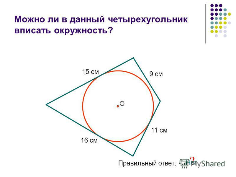 Можно ли в данный четырехугольник вписать окружность? 15 см 11 см 9 см 16 см О Правильный ответ: ? Нет