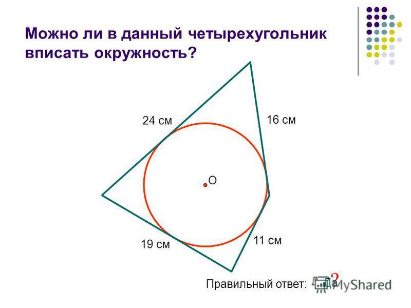 Можно ли в данный четырехугольник вписать окружность? 24 см 11 см 16 см 19 см О Правильный ответ: ? Да