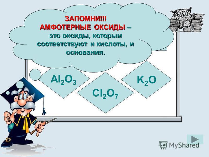 Укажите формулу амфотерного оксида Al 2 O 3 K2OK2O Cl 2 O 7 ЗАПОМНИ!!! АМФОТЕРНЫЕ ОКСИДЫ – это оксиды, которым соответствуют и кислоты, и основания ЗАПОМНИ!!! АМФОТЕРНЫЕ ОКСИДЫ – это оксиды, которым соответствуют и кислоты, и основания.