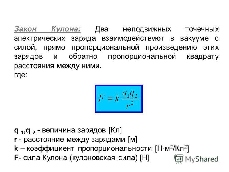 Закон Кулона: Два неподвижных точечных электрических заряда взаимодействуют в вакууме с силой, прямо пропорциональной произведению этих зарядов и обратно пропорциональной квадрату расстояния между ними. где: q 1,q 2 - величина зарядов [Кл] r - рассто