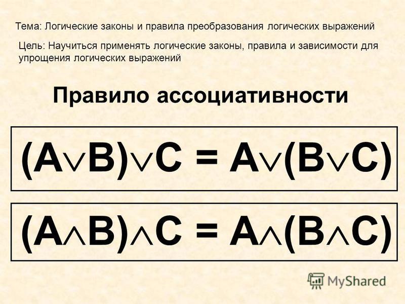 Тема: Логические законы и правила преобразования логических выражений Цель: Научиться применять логические законы, правила и зависимости для упрощения логических выражений Правило ассоциативности (А В) С = А (В С)