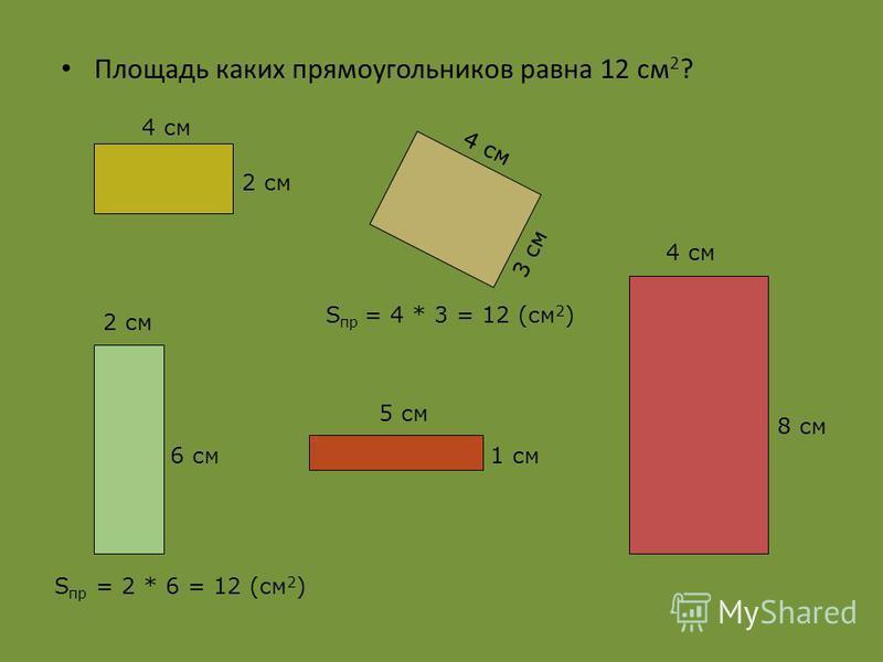 Пользуясь рисунком, узнайте площадь каждого прямоугольника. 3 см Длина Ширина 2 см 1 см Длина Ширина 3 * 2 = 6 (см 2 )4 * 3 = 12 (см 2 )