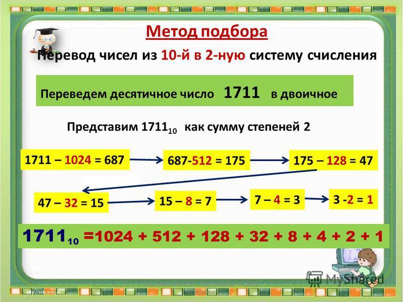 7 – 4 = 3 687-512 = 175175 – 128 = 47 47 – 32 = 15 15 – 8 = 7 3 -2 = 1 1711 – 1024 = 687 Сергеенкова И.М. - ГБОУ Школа 1191 г. Москва 1711 10 = 1024 + 512 + 128 + 32 + 8 + 4 + 2 + 1 Метод подбора Перевод чисел из 10-й в 2-ную систему счисления Переве
