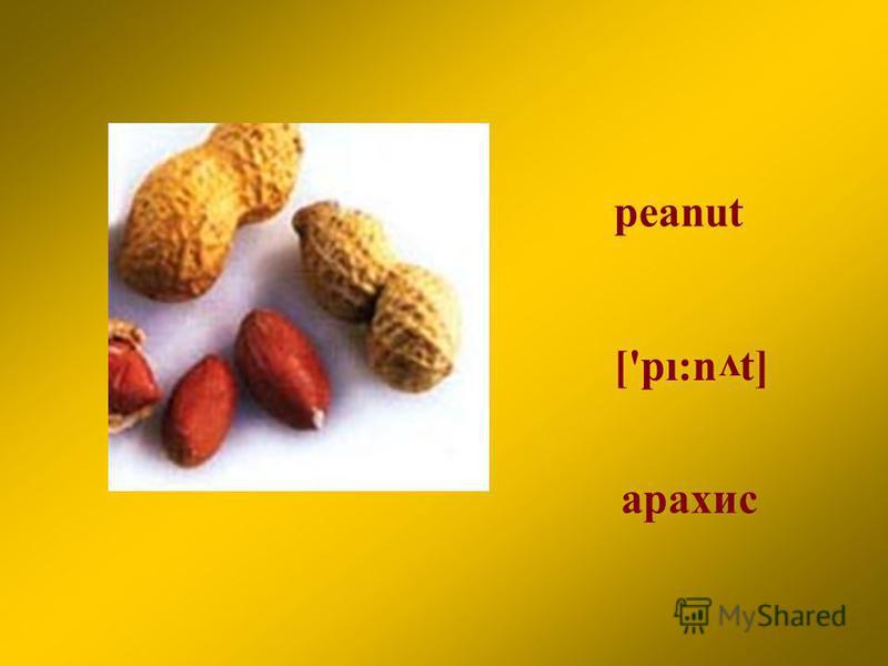 peanut арахис ['pı:n t] v