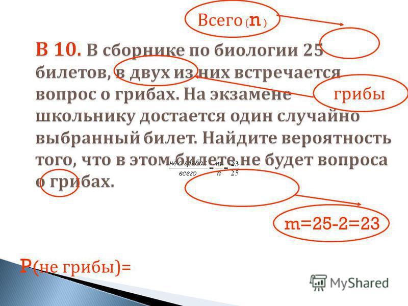 P ( не грибы )= Всего ( n ) грибы m=25-2=23