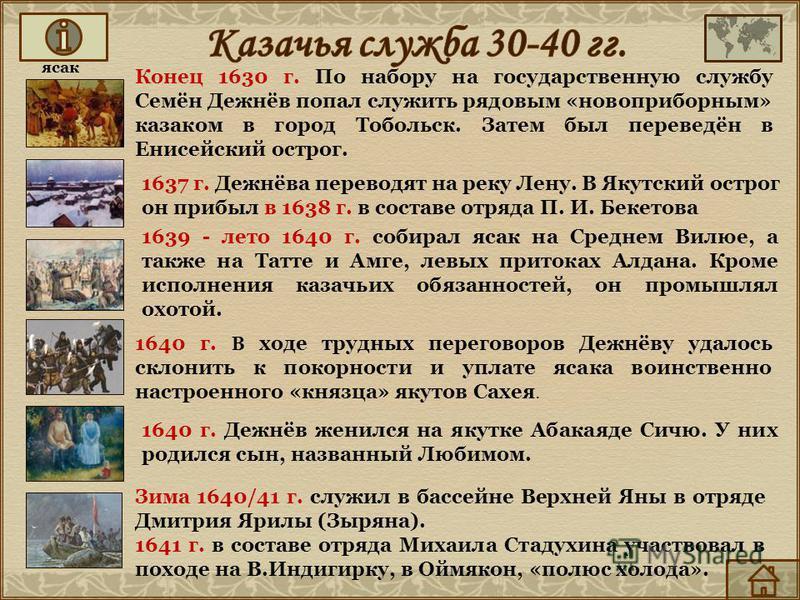 Конец 1630 г. По набору на государственную службу Семён Дежнёв попал служить рядовым «новоприборным» казаком в город Тобольск. Затем был переведён в Енисейский острог. 1639 - лето 1640 г. собирал ясак на Среднем Вилюе, а также на Татте и Амге, левых