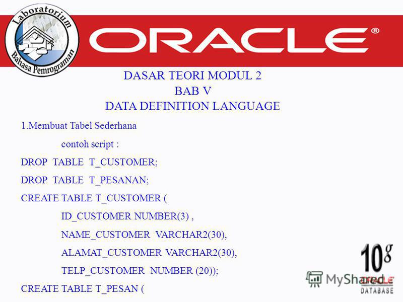 BAB V DATA DEFINITION LANGUAGE 1.Membuat Tabel Sederhana contoh script : DROP TABLE T_CUSTOMER; DROP TABLE T_PESANAN; CREATE TABLE T_CUSTOMER ( ID_CUSTOMER NUMBER(3), NAME_CUSTOMER VARCHAR2(30), ALAMAT_CUSTOMER VARCHAR2(30), TELP_CUSTOMER NUMBER (20)