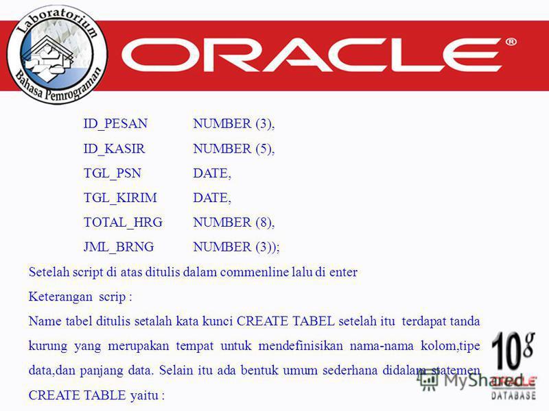 ID_PESAN NUMBER (3), ID_KASIR NUMBER (5), TGL_PSN DATE, TGL_KIRIM DATE, TOTAL_HRG NUMBER (8), JML_BRNGNUMBER (3)); Setelah script di atas ditulis dalam commenline lalu di enter Keterangan scrip : Name tabel ditulis setalah kata kunci CREATE TABEL set