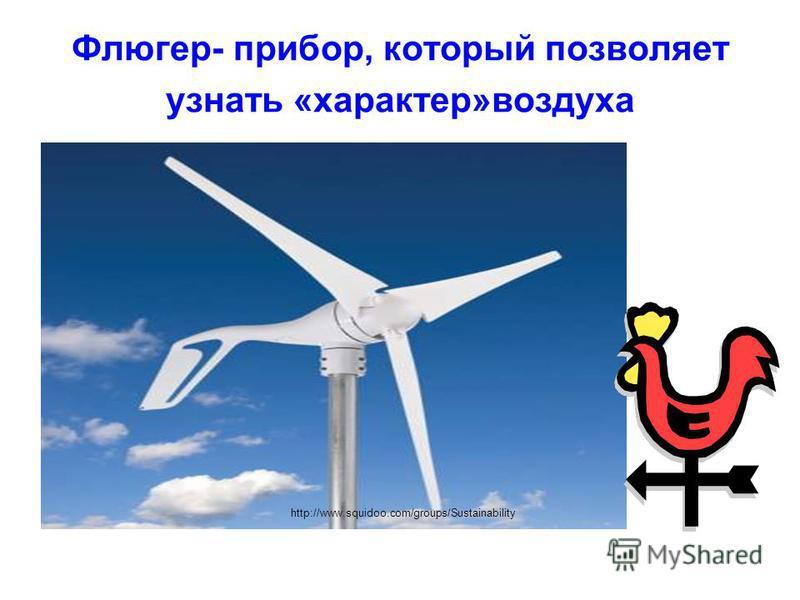 Флюгер- прибор, который позволяет узнать «характер»воздуха http://www.squidoo.com/groups/Sustainability
