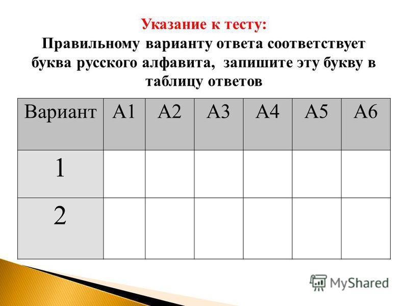 ВариантА1А2А3А4А5А6 1 2 Указание к тесту: Правильному варианту ответа соответствует буква русского алфавита, запишите эту букву в таблицу ответов