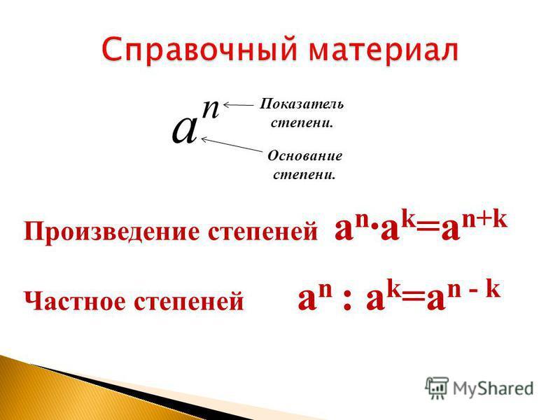 Произведение степеней a n ·a k =a n+k Частное степеней a n : a k =a n - k Показатель степени. Основание степени. а n