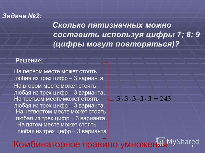 3 Задача 2: Сколько пятизначных можно составить используя цифры 7; 8; 9 (цифры могут повторяться)? Решение: На первом месте может стоять любая из трех цифр – 3 варианта. На втором месте может стоять любая из трех цифр – 3 варианта. На третьем месте м