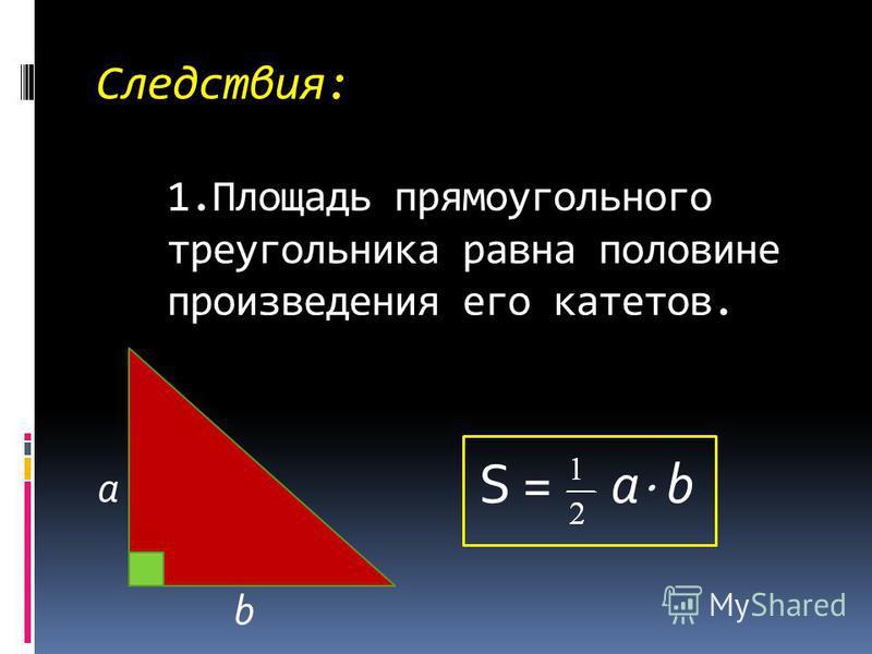 Следствия: 1. Площадь прямоугольного треугольника равна половине произведения его катетов. a b S = a b
