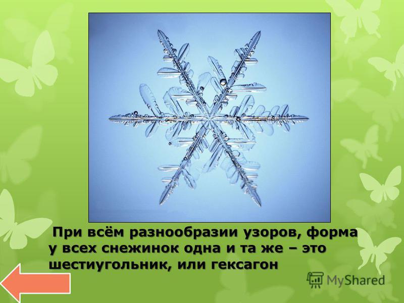 При всём разнообразии узоров, форма у всех снежинок одна и та же – это шестиугольник, или гексагон При всём разнообразии узоров, форма у всех снежинок одна и та же – это шестиугольник, или гексагон