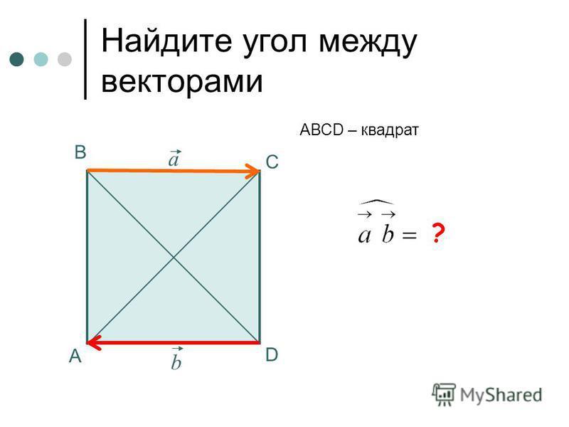180 0 Найдите угол между векторами А В С АВСD – квадрат а b ? D