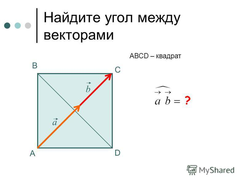 0 Найдите угол между векторами А В С АВСD – квадрат а b ? D