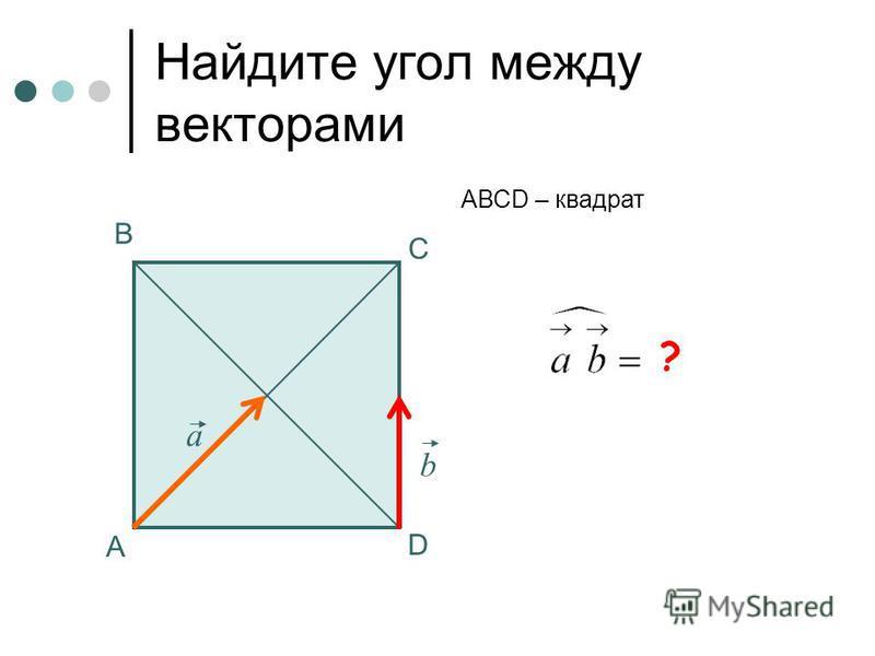 45 0 Найдите угол между векторами А В С АВСD – квадрат а b ? D