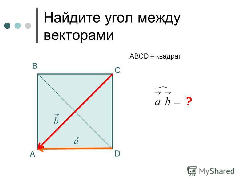 135 0 Найдите угол между векторами А В С АВСD – квадрат а b ? D
