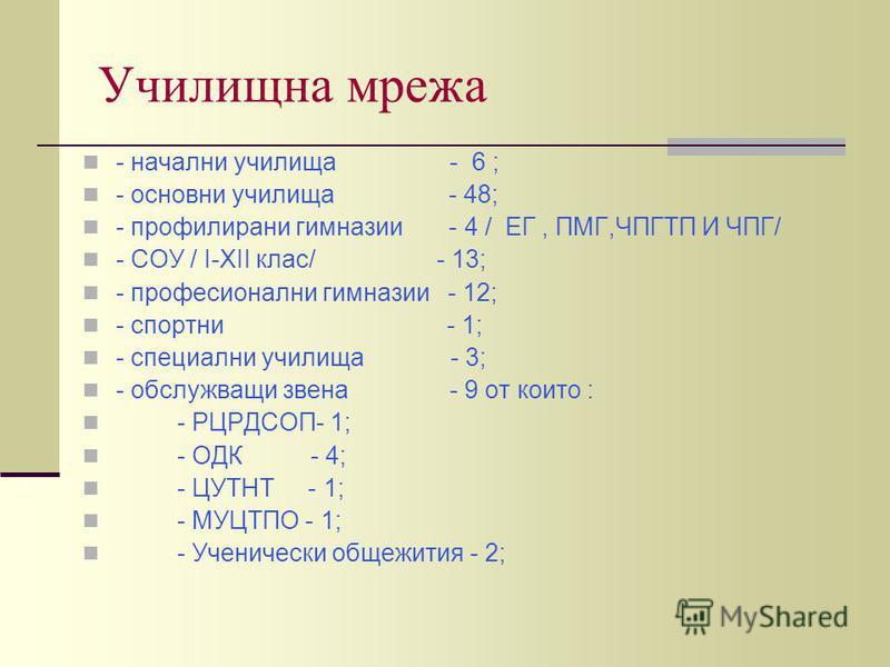 Училищна мрежа - начални училища - 6 ; - основни училища - 48; - профилирани гимназии - 4 / ЕГ, ПМГ,ЧПГТП И ЧПГ/ - СОУ / І-ХІІ клас/ - 13; - професионални гимназии - 12; - спортни - 1; - специални училища - 3; - обслужващи звена - 9 от които : - РЦРД
