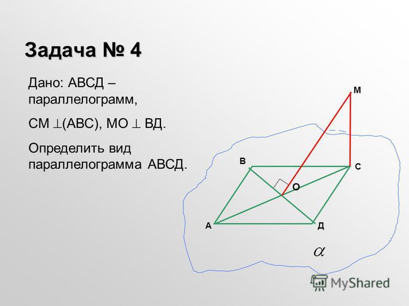 Задача 4 Дано: АВСД – параллелограмм, СМ (АВС), МО ВД. Определить вид параллелограмма АВСД. А С Д В М О