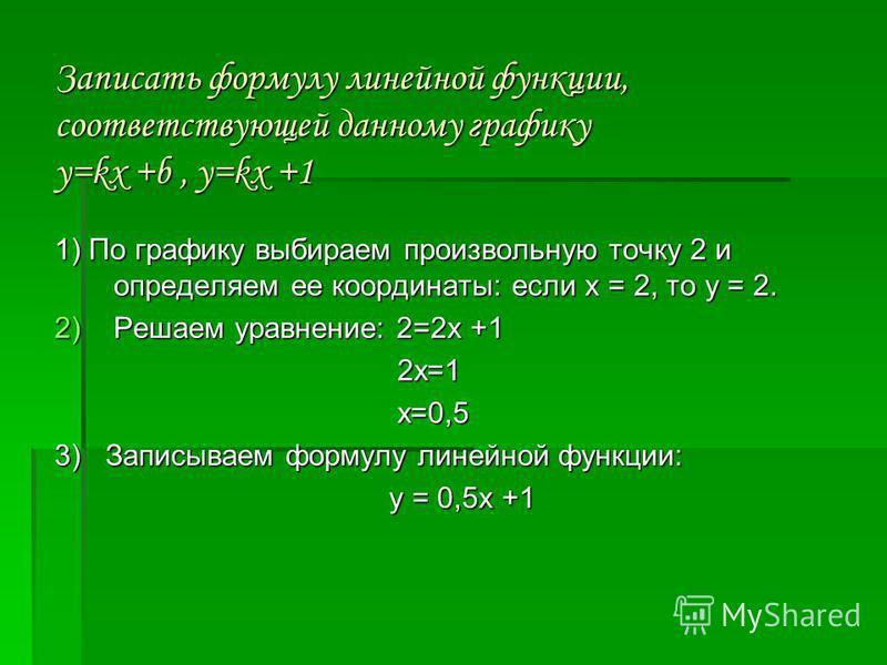 Записать формулу линейной функции, соответствующей данному графику у=kx +b, у=kx +1 Записать формулу линейной функции, соответствующей данному графику у=kx +b, у=kx +1 1) По графику выбираем произвольную точку 2 и определяем ее координаты: если х = 2