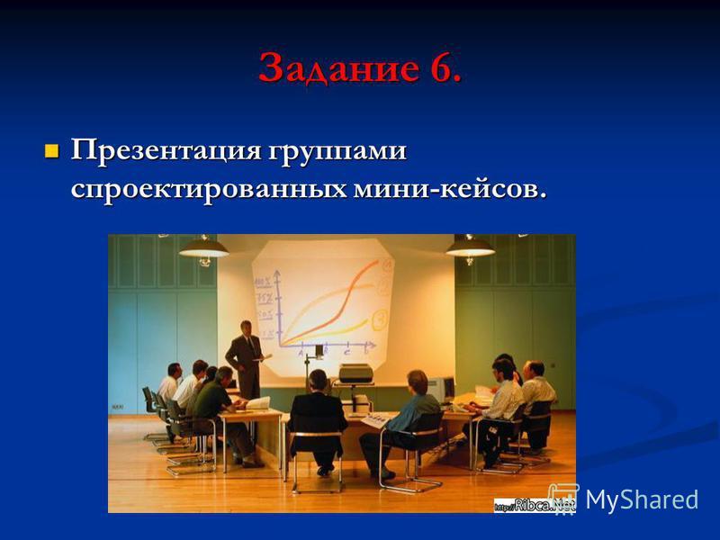 Задание 6. Презентация группами спроектированных мини-кейсов. Презентация группами спроектированных мини-кейсов.
