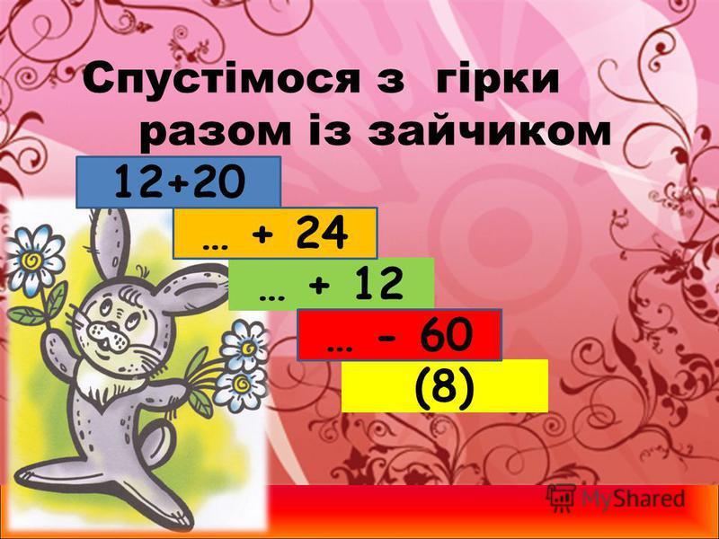 Спустімося з гірки разом із зайчиком 12+20 (8) … + 12 … - 60 … + 24