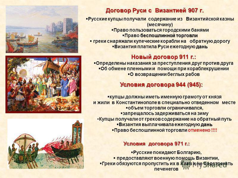 Договор Руси с Византией 907 г. Русские купцы получали содержание из Византийской казны (месячину) Право пользоваться городскими банями беспошлинной торговли Право беспошлинной торговли греки снаряжали купеческие корабли на обратную дорогу дань Визан