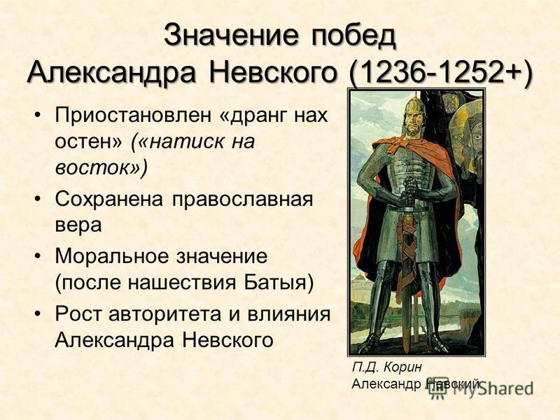 Значение побед Александра Невского (1236-1252+) Приостановлен «дранг нах остен» («натиск на восток») Сохранена православная вера Моральное значение (после нашествия Батыя) Рост авторитета и влияния Александра Невского П.Д. Корин Александр Невский