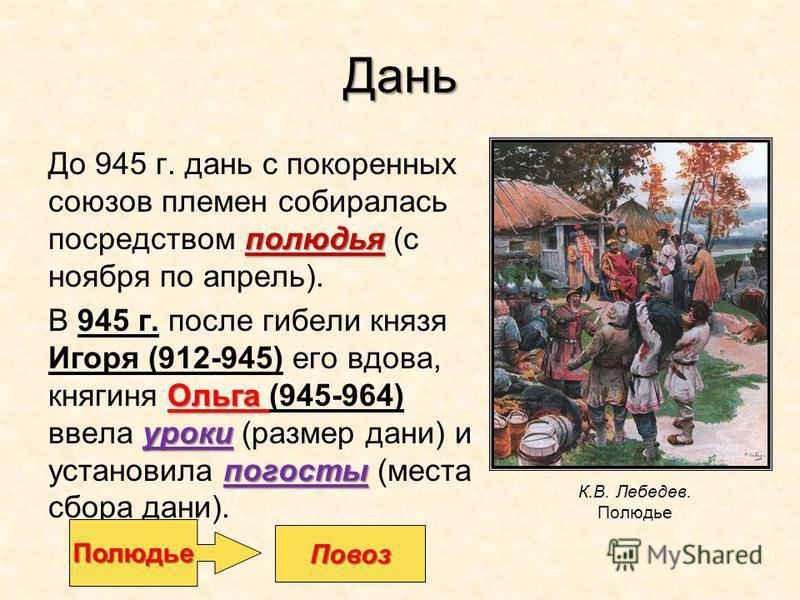 Дань полюдья До 945 г. дань с покоренных союзов племен собиралась посредством полюдья (с ноября по апрель). Ольга уроки погосты В 945 г. после гибели князя Игоря (912-945) его вдова, княгиня Ольга (945-964) ввела уроки (размер дани) и установила пого